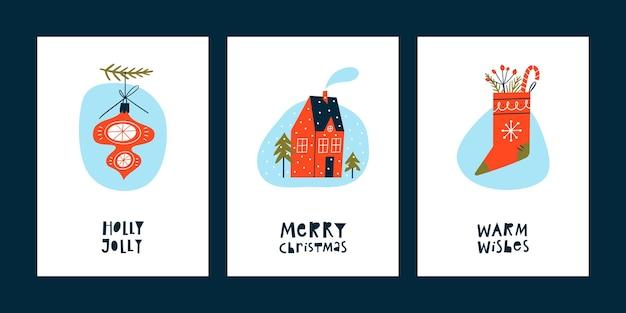 Zestaw kartki świąteczne i noworoczne z napisem i ręcznie rysowane elementy.