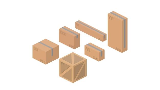 Zestaw kartonów izometrycznych. dobry do projektowania na temat dostawy i frachtu. odosobniony. wektor.
