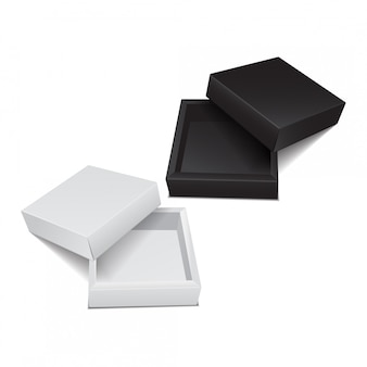 Zestaw kartonów. wektor realistyczny pakiet oprogramowania, urządzenia elektronicznego lub opakowania upominkowego
