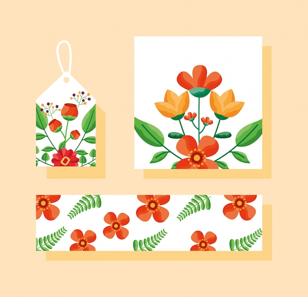 Zestaw karty, etykiety lub tagu i baner z motywem kwiatów