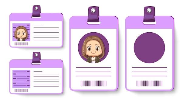 Zestaw karty identyfikacyjnej lub pracownika pracownika w fioletowej karcie pionowej i poziomej w postać z kreskówki, na białym tle płaska ilustracja
