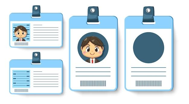 Zestaw karty identyfikacyjnej lub pracownika pracownika w niebieskiej pionowej i poziomej karcie w postaci z kreskówki, na białym tle płaska ilustracja