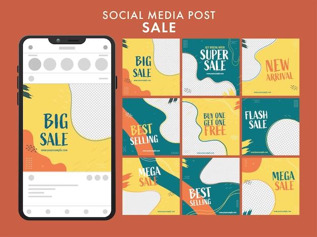 Zestaw karuzeli mediów społecznościowych po sprzedaży z ilustracja smartfona na brązowym tle.