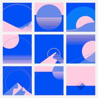 Zestaw karuzeli mediów społecznościowych w stylu retrofuturyzmu na różowym i niebieskim tle