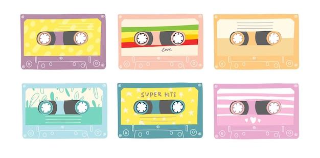 Zestaw kaset audio w stylu retro.