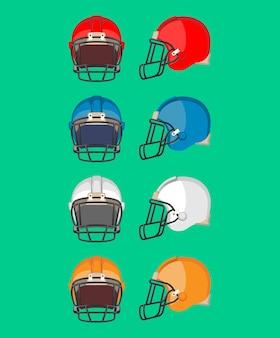 Zestaw kasków do futbolu amerykańskiego. element wyposażenia ochronnego używany głównie w futbolu amerykańskim i kanadyjskim. kolekcja kasków sportowych w różnych kolorach. płaski de. ilustracja