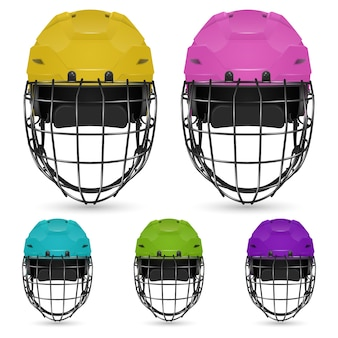 Zestaw kasków hokejowych bramkarza, izolowany.