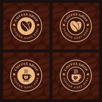 Zestaw kawa, kawiarnia szablon logo