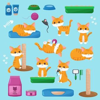 Zestaw kawaii czerwonych kotów, zabawek, karmy dla kotów i przedmiotów. kocięta z kreskówek w różnych pozach.
