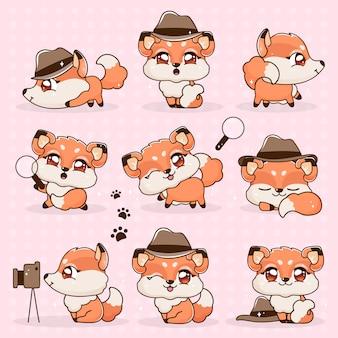 Zestaw kawaii kolekcja fantasy little fox cartoon.
