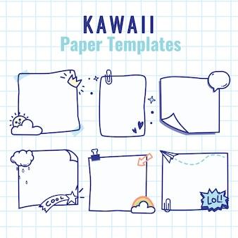 Zestaw kawaii notes przymocowany taśmą klejącą