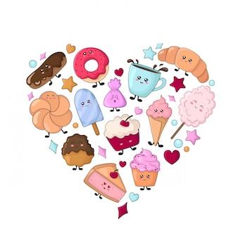 Zestaw kawaii żywności - słodycze lub desery na białym