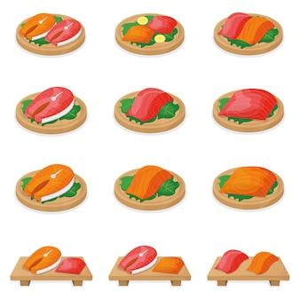Zestaw kawałek łososia z tuńczyka, świeży stek polędwicy na desce na białym tle na biały, ilustracja kreskówka. zdrowe, tłuste owoce morza