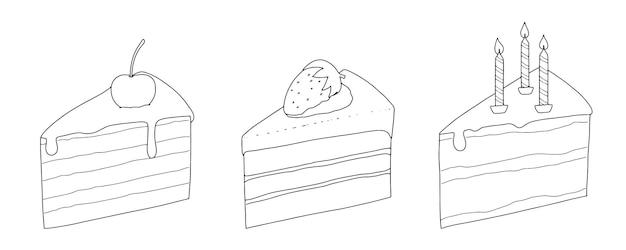 Zestaw kawałków ciasta z wiśniowymi truskawkowymi świecami liniowy szkic doodle
