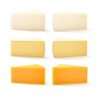 Zestaw kawałków ser szwajcarski cheddar bri camembert