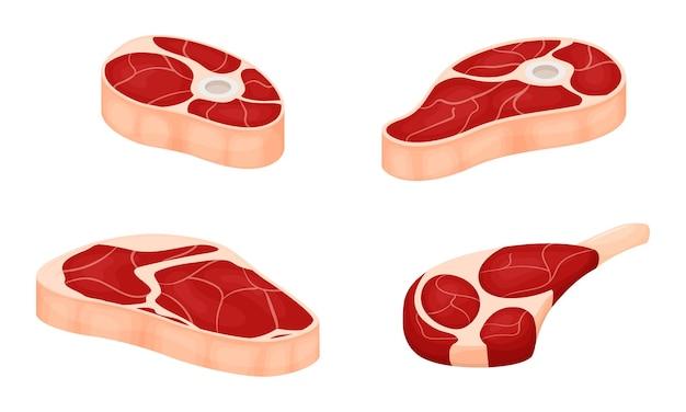 Zestaw kawałków surowego mięsa z warstwami tłuszczu. świeże mięso