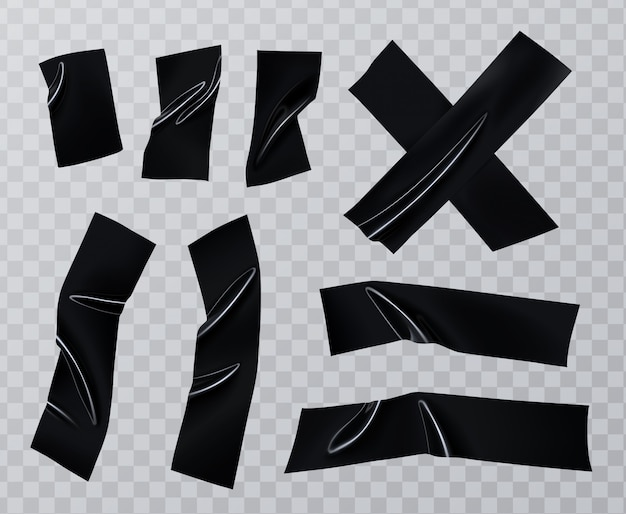 Zestaw kawałków taśmy klejącej. realistyczna kolekcja czarnej taśmy izolacyjnej, lepkie elementy szkockiej.