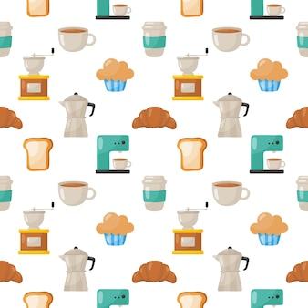 Zestaw kawiarni ikony wzór bez szwu na białym tle