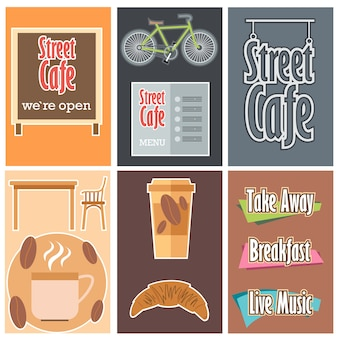 Zestaw kawiarni ulicy.