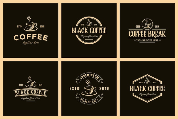 Zestaw kawiarni vintage retro logo design wektor