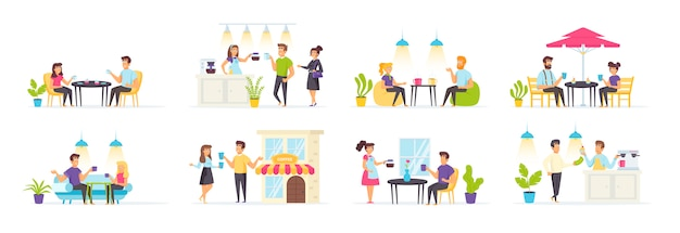 Zestaw kawiarni z postaciami ludzi w różnych scenach i sytuacjach.