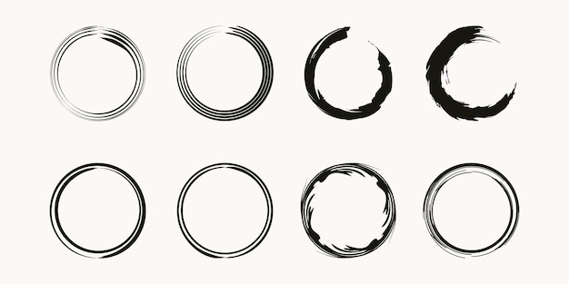Zestaw kawy plama pierścień wektor kształt - znaczki koło - okrągłe pociągnięcia pędzlem - ikona, projektowanie logo.