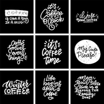 Zestaw kawy ręcznie rysowane napis