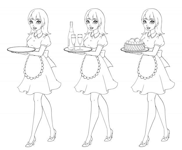 Zestaw kelnerki gospodarstwa szampana i ciasto, noszenie munduru.