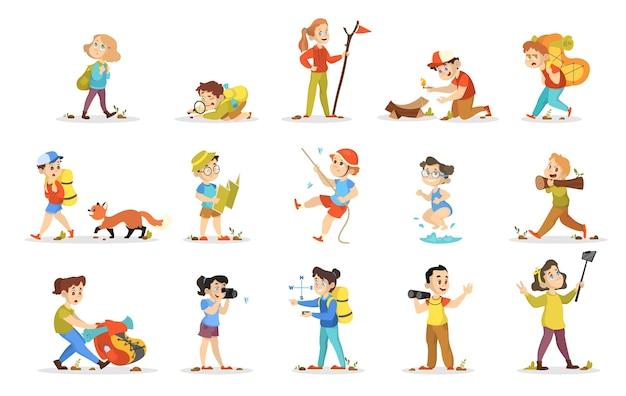 Zestaw kempingowy dla dzieci. kolekcja dzieci chodzących