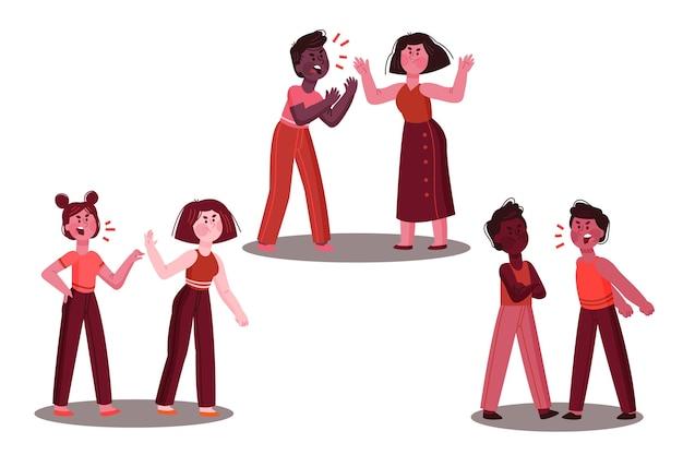 Zestaw kilku konfliktów ilustracji