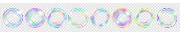 Zestaw kilku przezroczystych kolorowych baniek mydlanych do użytku na jasnym tle. przezroczystość tylko w formacie wektorowym