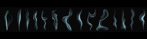Zestaw kilku realistycznych smug dymu lub pary w szablonie w jasnoniebieskich kolorach