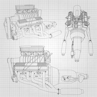 Zestaw kilku rodzajów potężnego silnika samochodowego. silnik jest rysowany czarnymi liniami na białym prześcieradle w klatce