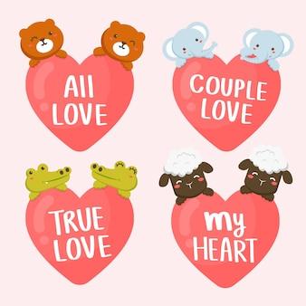 Zestaw kilku zwierząt z sercami i romantycznymi napisami. walentynki