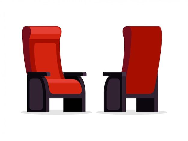 Zestaw kina czerwony fotel wygodne przednie i widok z tyłu ilustracji wektorowych. puste siedzenia na białym tle