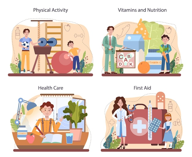 Zestaw klas zdrowego stylu życia. idea edukacji bezpieczeństwa życia i ochrony zdrowia. podstawowe bezpieczeństwo życia, pierwsza pomoc, zapobieganie wirusom. dieta, aktywność fizyczna, higiena. ilustracja wektorowa na białym tle