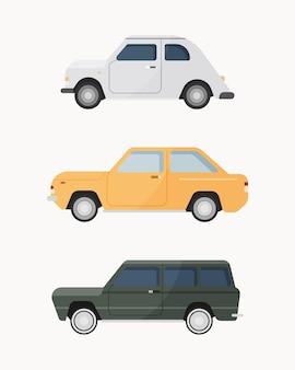 Zestaw klasycznego samochodu. samochody zabytkowe .
