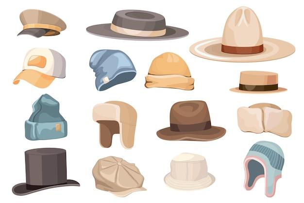 Zestaw klasycznej i nowoczesnej męskiej czapki, trapera, cylindra cylindra, biednego chłopca, wioślarza i panamy oraz baseballu lub kowboja