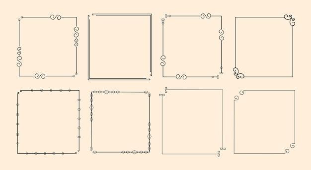 Zestaw klasycznej kaligraficznej ozdobnej ramki ozdobnej
