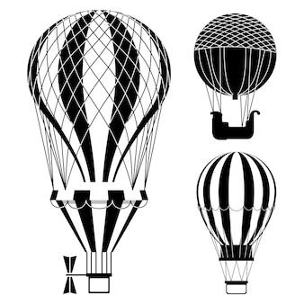 Zestaw klasycznych balonów na ogrzane powietrze lub aerostatów