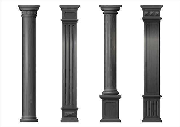 Zestaw klasycznych drewnianych kolumn czarny wektor