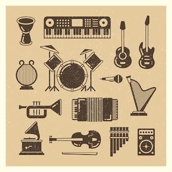 Zestaw klasycznych instrumentów muzycznych grunge sylwetki