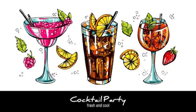Zestaw klasycznych koktajli alkoholowych. ręcznie rysowane ilustracja