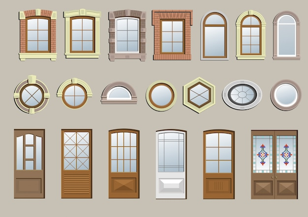 Zestaw klasycznych okien