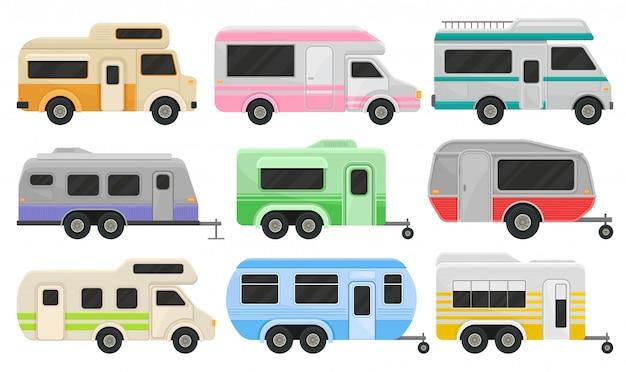 Zestaw klasycznych samochodów kempingowych i przyczep. pojazdy rekreacyjne. strona główna kół. komfortowe samochody do rodzinnych podróży