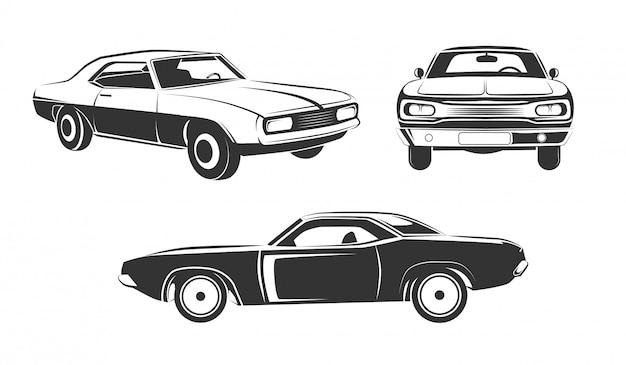 Zestaw klasycznych samochodów retro muscle