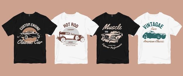 Zestaw klasycznych t-shirtów w stylu retro vintage car