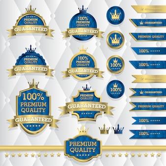 Zestaw klasycznych złotych etykiet, elementy vintage, jakość premium, edycja limitowana, oferta specjalna, ilustracja