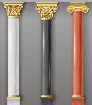 Zestaw klasycznych złotych i marmurowych kolumn