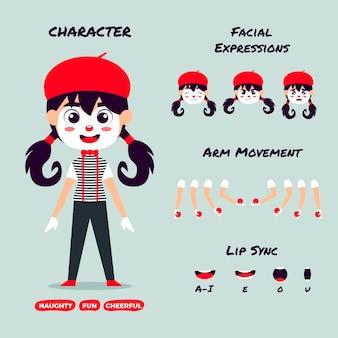 Zestaw klatek animacji postaci z kreskówek